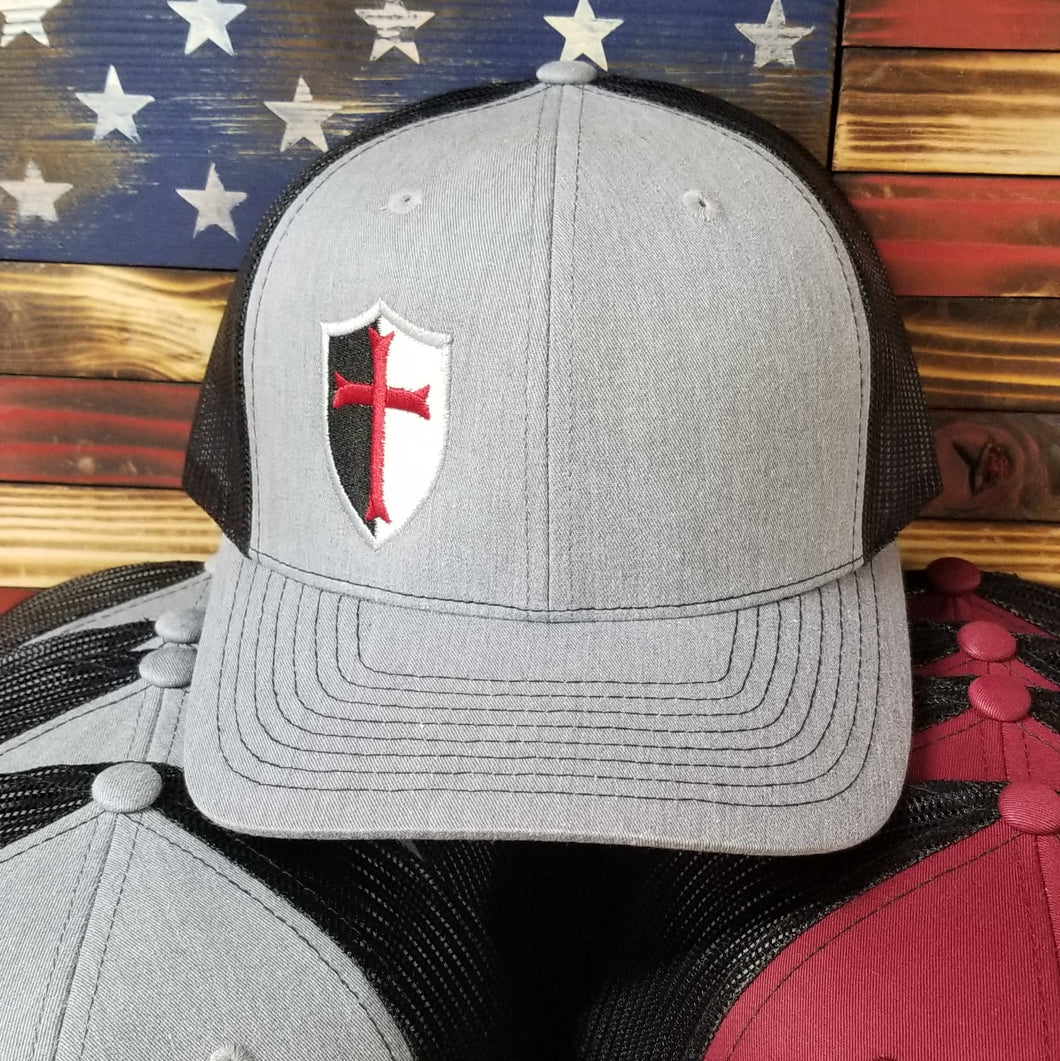 Gray and Black Trucker Style Hat w/ Logo