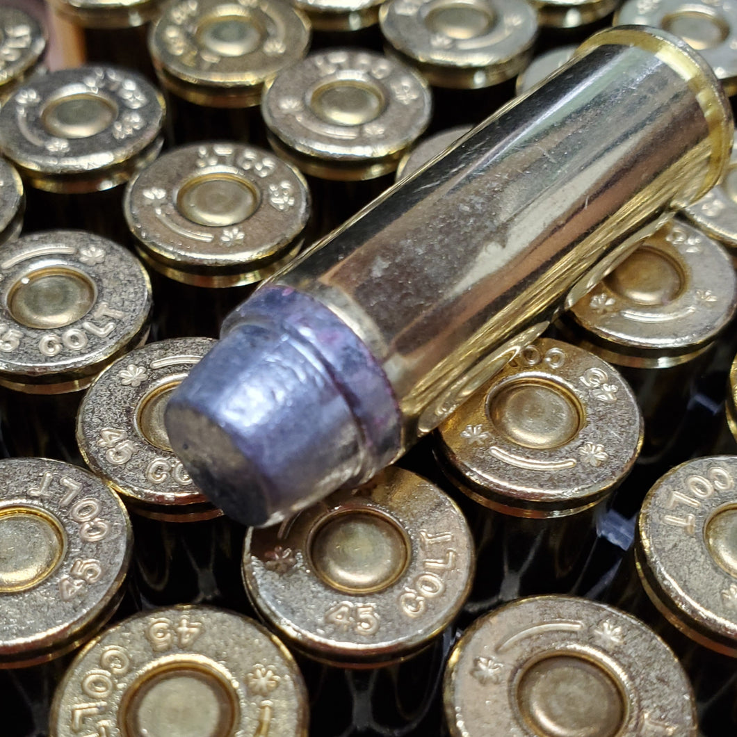 45 Colt 255 grain Lead SWC @ 850 fps. 50 Rounds.