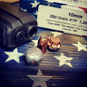 10mm 200 grain XTP @ 1,200 fps. 50 rounds.