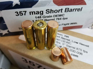 357 Magnum, Short Barrel, 148 Grain DEWC @ 765 fps. 50 rounds.