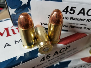 45 ACP 230 grain Round Nose @ 840 fps. 50 rounds.
