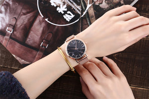 Fashion Silver And Gold Creative Marble-Like Wrist Watch