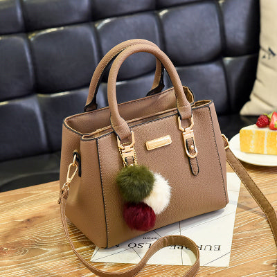 Trendy Woman Solid Handbag w/ Ornaments