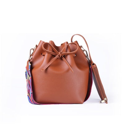 Women Bag with Colorful Strap Leather Shoulder