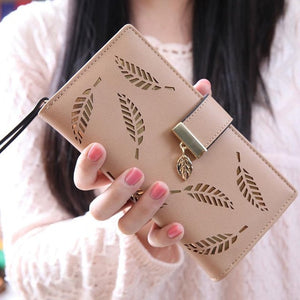 Dazzling Women Long Wallet w/ Gold Hollow Leaves