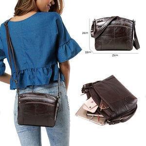 Vintage Genuine Leather Bag For Woman w/ Multi Pockets