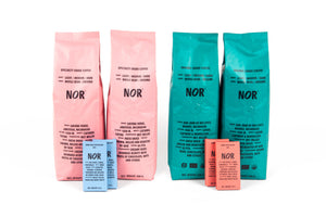 Two bags of NOR specialty coffee (500g each); two bags of NOR organic coffee (500g each); two NOR dark chocolate bars (25g each); and two NOR dark milk chocolate bars (25g each)