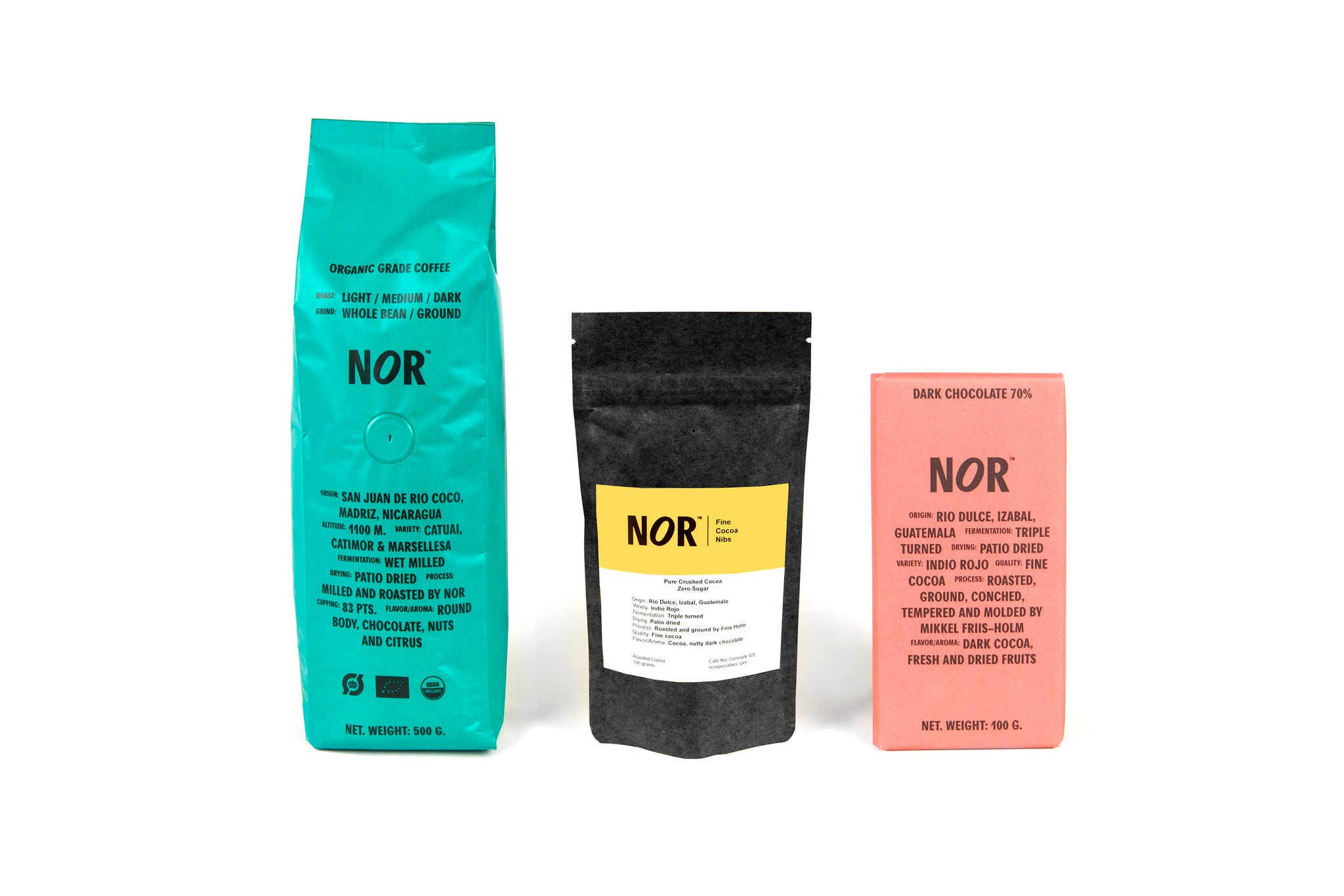 A bag of NOR organic coffee (500g)