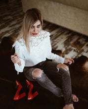 """All Laced Up"" Blouse - Simply Marble"