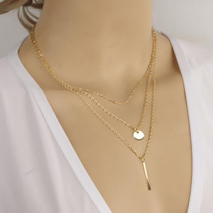 Multilayer Pendant Necklace | Silver And Gold - Simply Marble
