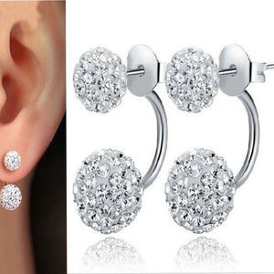 Sterling Silver Double Crystal Stud Earrings - Simply Marble