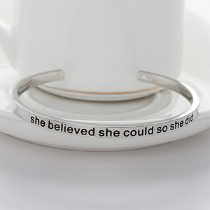 """She Believed She Could So She Did"" Bracelet - Simply Marble"