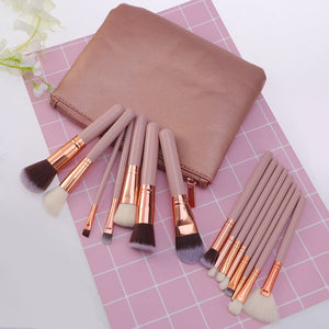 15pc Dusty Rose Wooden Handle Makeup Brush Set With Bag - Simply Marble