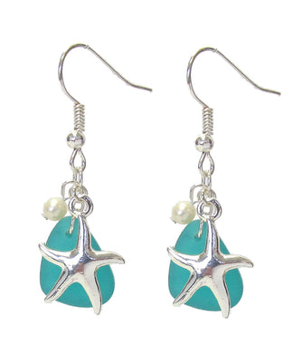 Sea Glass and Pearl Earring