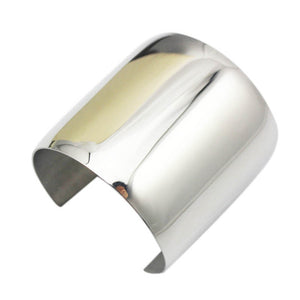 100% Hand-buffing Titanium Stainless Steel Shiny Women Big Heavy Long Cuff Bracelets
