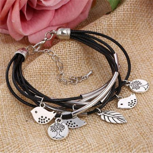 Multi Layers Leather Bracelet Women Handmade Charm Bangle Mini Birds Pendant