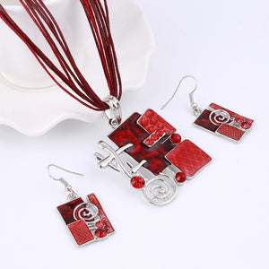Summer Style Enamel Silver Pendant Jewelry Sets Delicate Lucite Design.