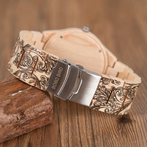 Wood Watch Men Luxury Handmade Japan Move' 2035 Wood Band Quartz Wooden Band Writ Watch Male
