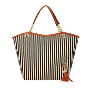 Shopping Tote Girl Stripe Tassels Chain  Shoulder Shop Bag