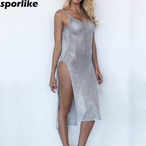 Swimsuit Covers up Bathing Suit Summer Beach Wear knitting Swimwear Mesh Beach Dress Tunic Robe