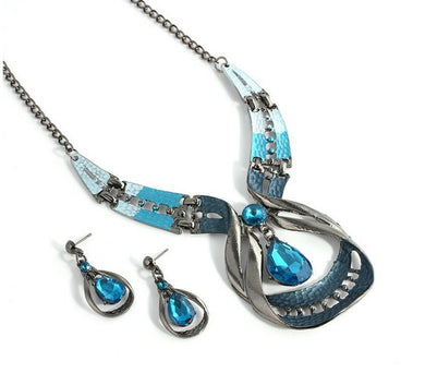 Waterdrop Earring Set Crystal Jewelry Set Fashion