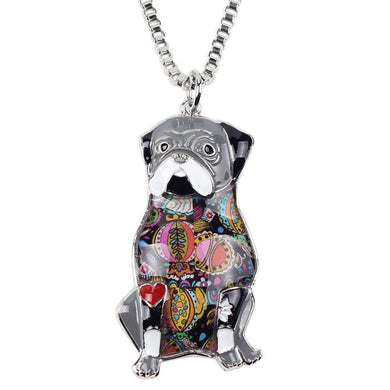 Sitting Pug Dog Necklace Pendants Enamel Collar Choker Chain New Fashion Animal Jewelry For Women
