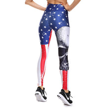 3D Printed High Waist Women Leggings Stars Vertical Stripe Skull Print