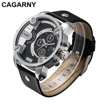 Watches Men Luxury Brand Leather Strap Quartz Dual Time Zone