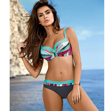 Push Up Bikini Women Swimsuit Plus Size Swimwear Print Patchwork