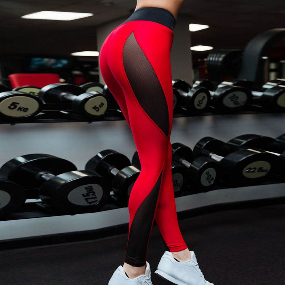 Women tights mesh Hollow Splice Sports Gym Workout