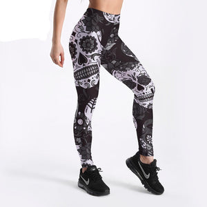 Leggings Slim Women's Black&White skull mas