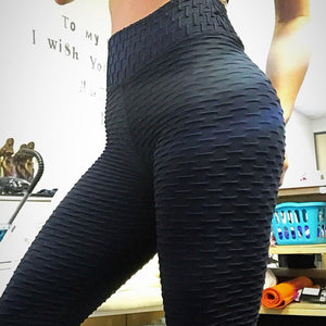 2018 Newest Fitness Leggings Hips Wrinkle Solid High Waist