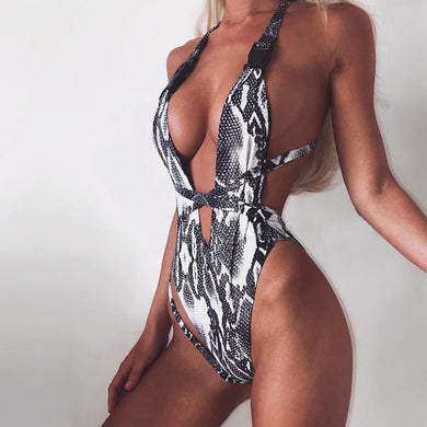 Leopard One Piece Bathing Suit Sexy Thong