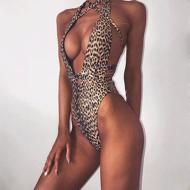 Leopard V Neck One Piece Romper