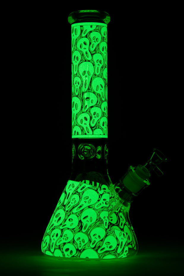 "13.5"" Glow in the dark 9 mm glass water bong"