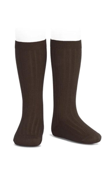 Rib Knee-high Socks - 390 Maroon