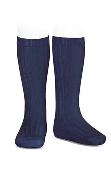 Rib Knee-high Socks - 480 Navy Blue
