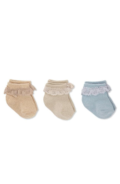 Lace Lurex Socks 3 pack - Ocean Eyes