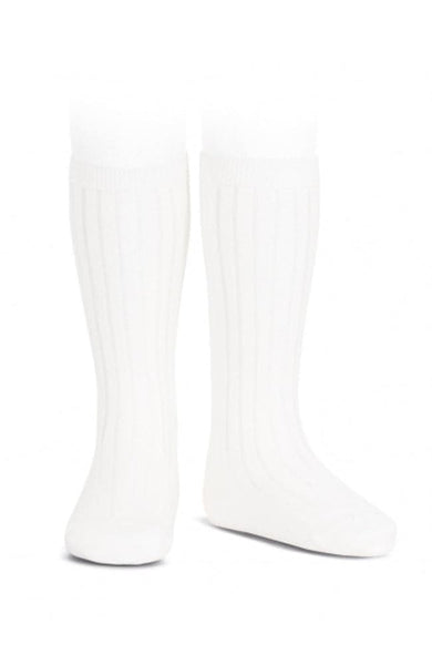 Rib Knee-high Socks - 200 Hvítir