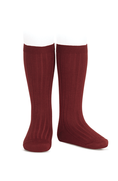 Rib Knee-high Socks - burgundy 572