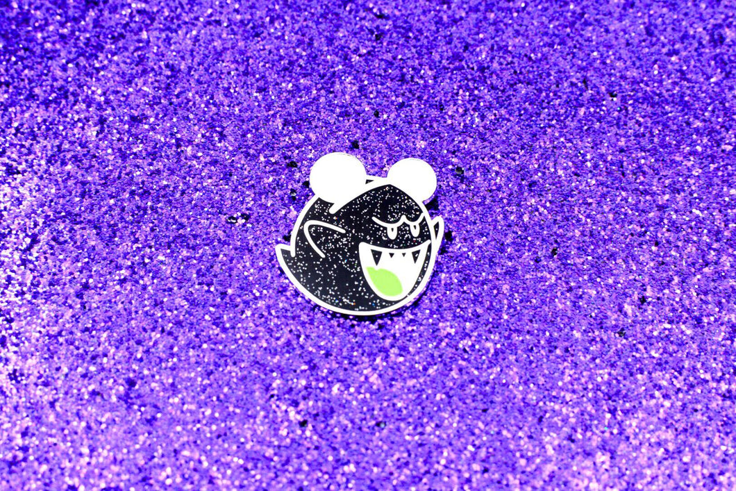 Magic Ghost Pin - Black Sparkle / Glow in the Dark with Ears