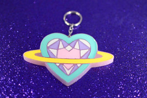Saturn Heart Keychain - Purple