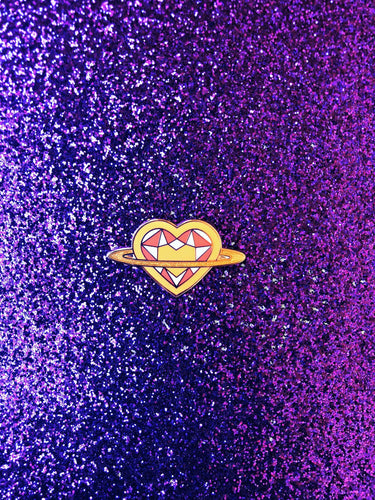 Saturn Heart Rainbow Series: Orange Pin