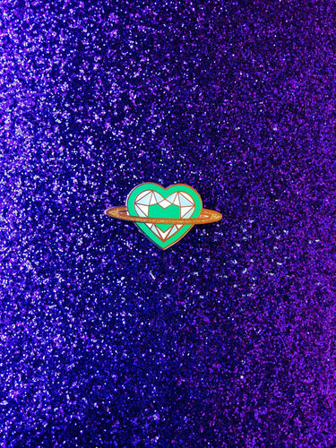 Saturn Heart Rainbow Series: Green Pin