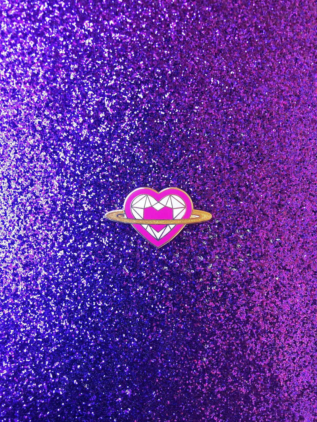Saturn Heart Rainbow Series: Pink Pin
