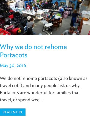 Why we do not rehome portacots