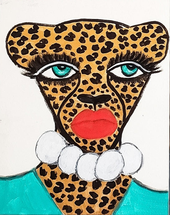Cheetah In Pearls Original Mini Painting