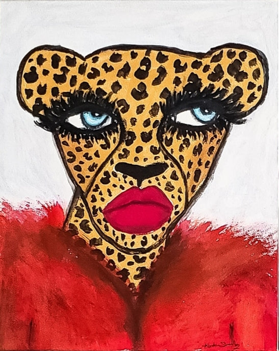 Cheetah in Red Coat Original Mini Painting