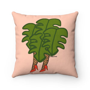 Cheetah Legs and Leaves Square Pillow