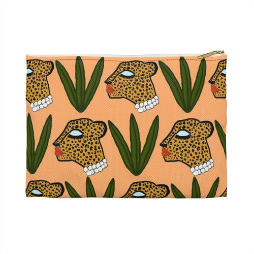 Cheetah and Leaves Pouch